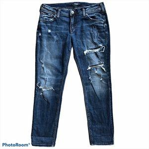 Silver Jeans Sam Distressed Cropped Denim Jeans